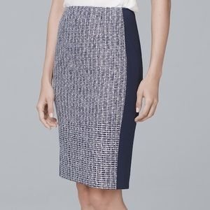 NWT WHBM blue white tweed pencil skirt